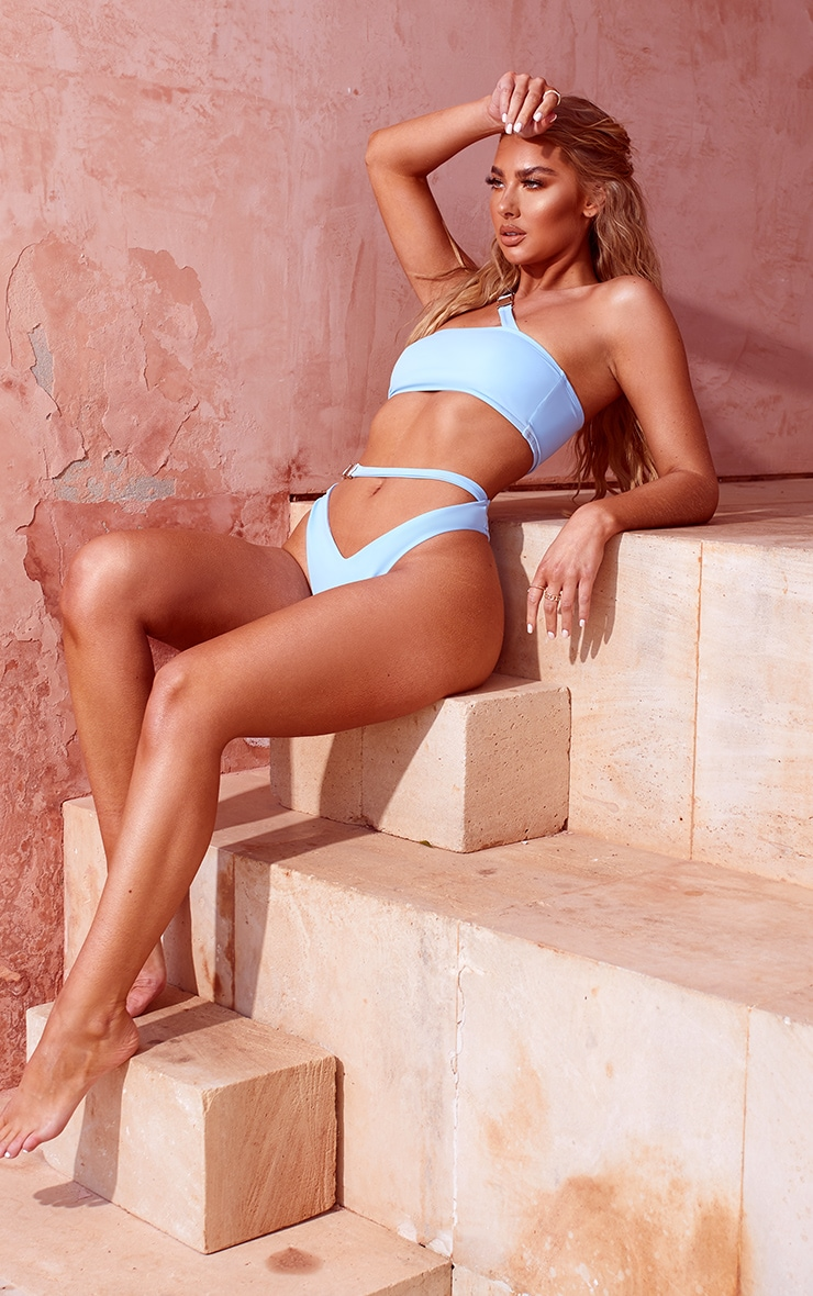 Blue Buckle High Waisted Bikini Bottom 4