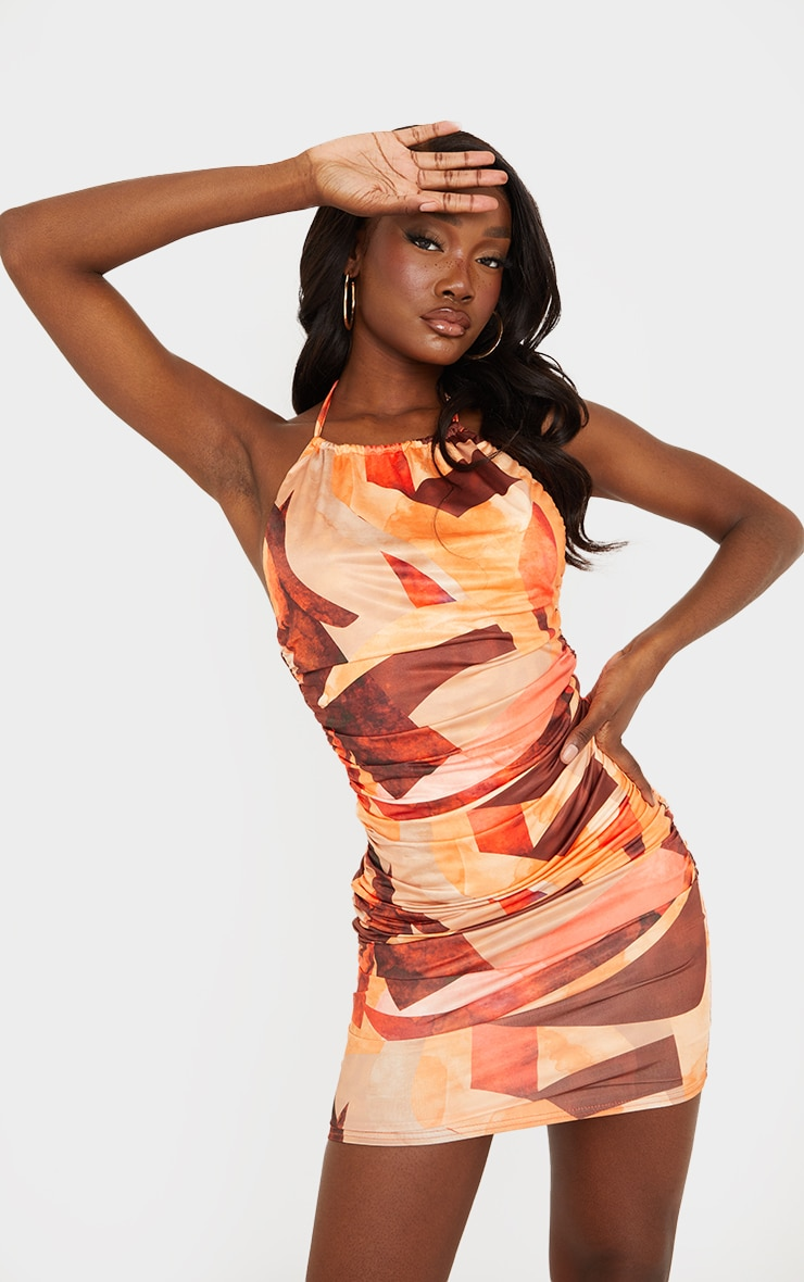 Tall Orange Abstract Print Ruched Detail Bodycon Dress 1