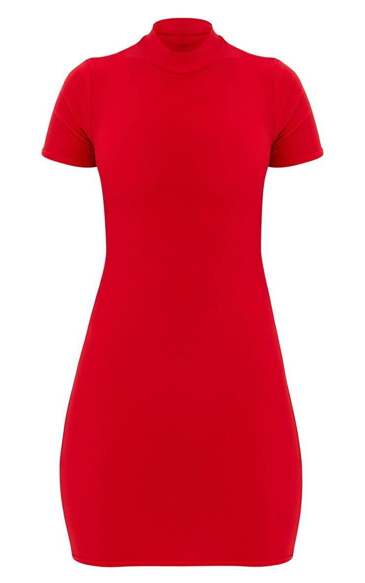 Red High Neck Short Sleeve Tie Back Bodycon Dress 3