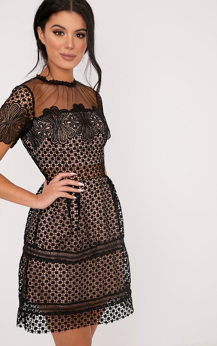 Zannia Black Cap Sleeve Lace Midi Dress 1