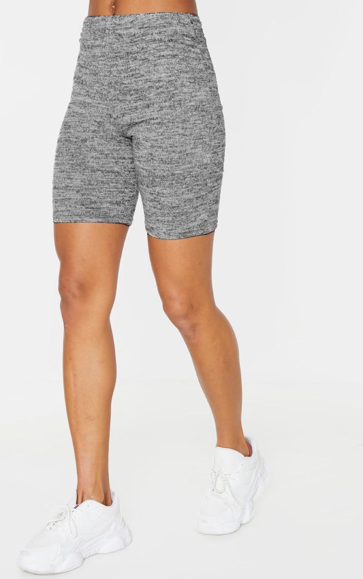 Grey Marl Brushed Textured Cycle Short 2