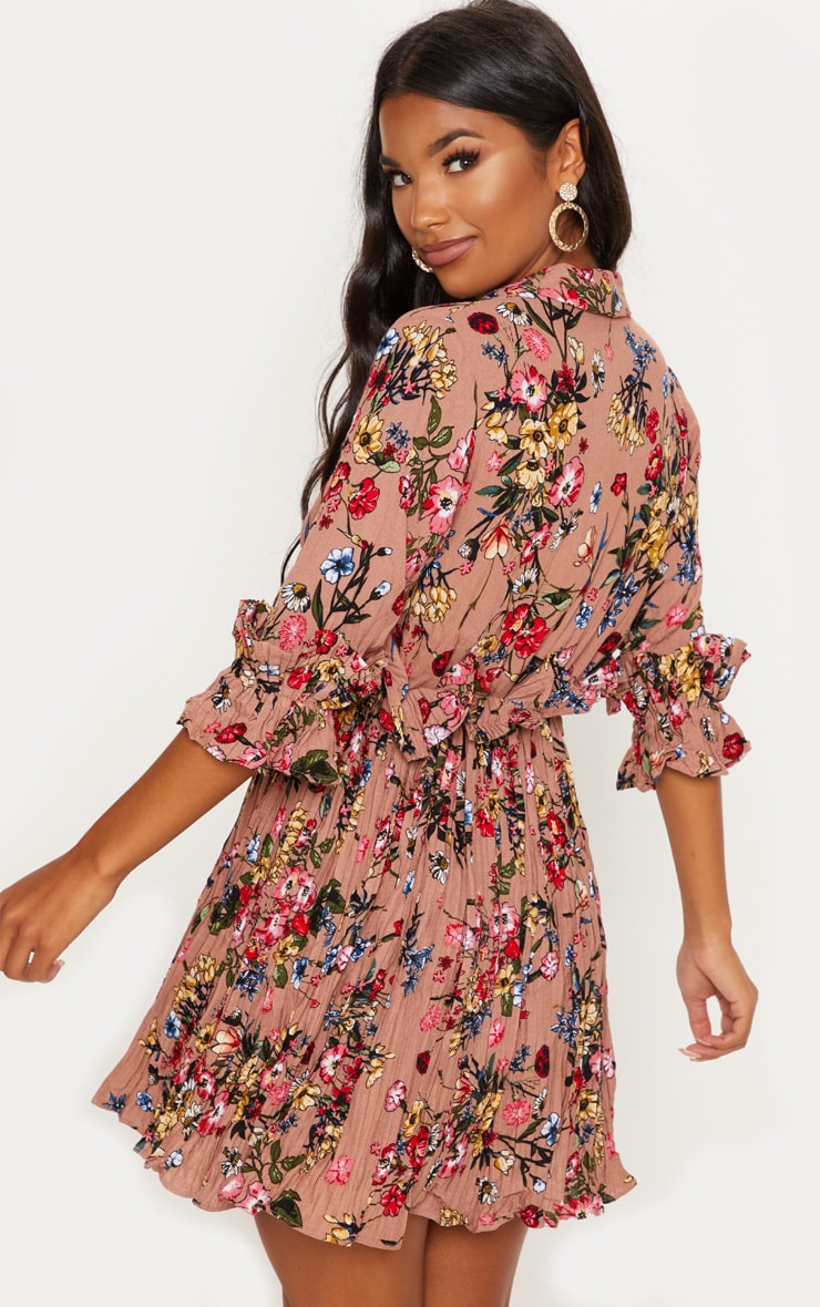 Dark Nude Floral Frill Detail Pleated Skater Dress 2