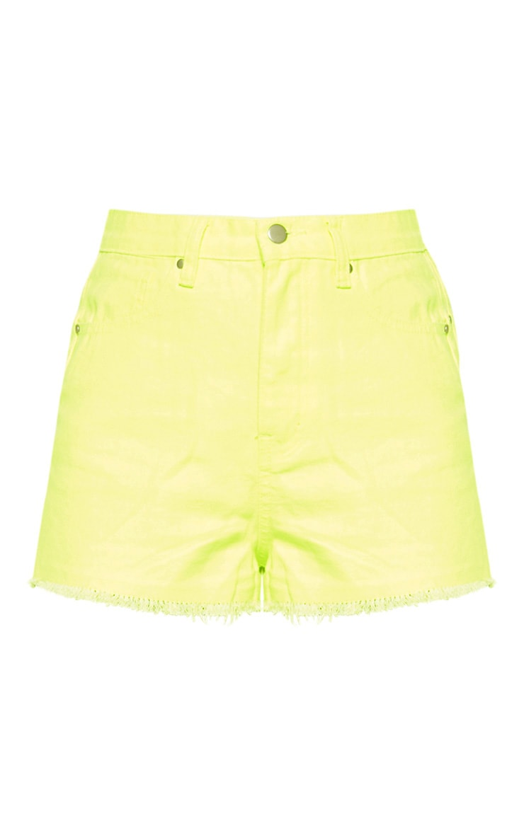 Neon Yellow Denim Short  3