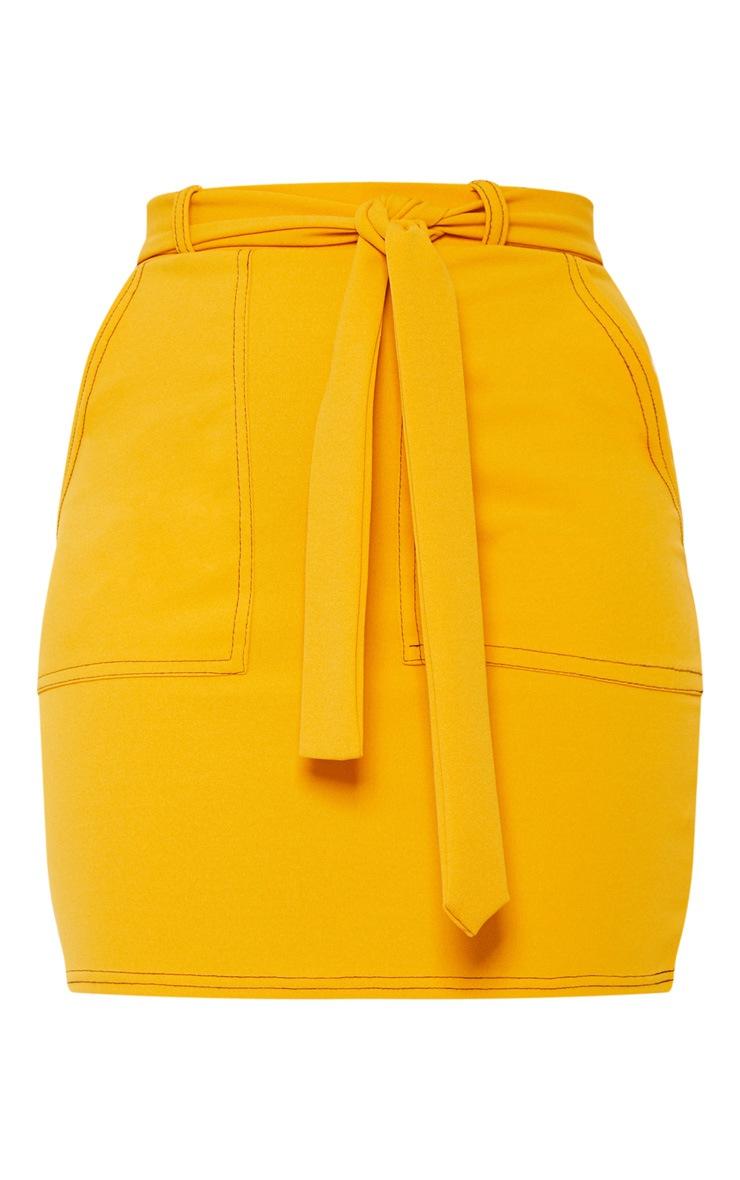 Mustard Contrast Stitch Tie Waist Mini Skirt 3