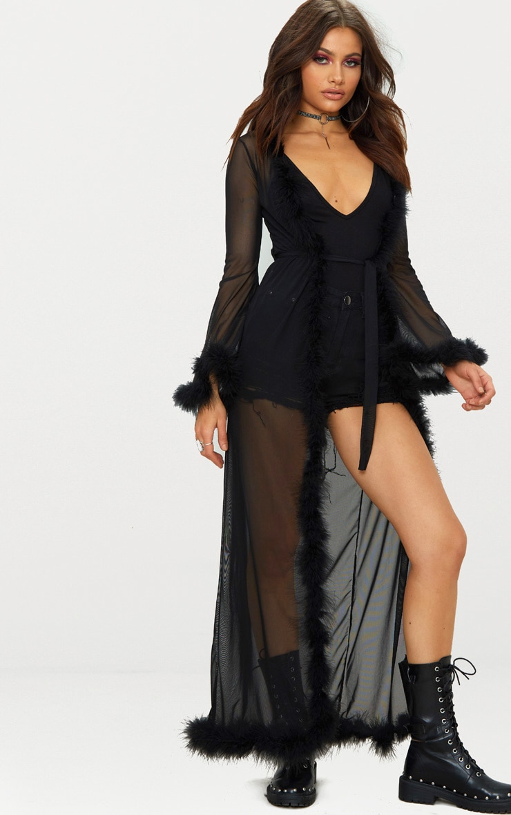 Black Sheer Feather Trim Maxi Duster 1