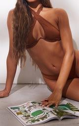 Brown Underwire Cross Front Bikini Top 4