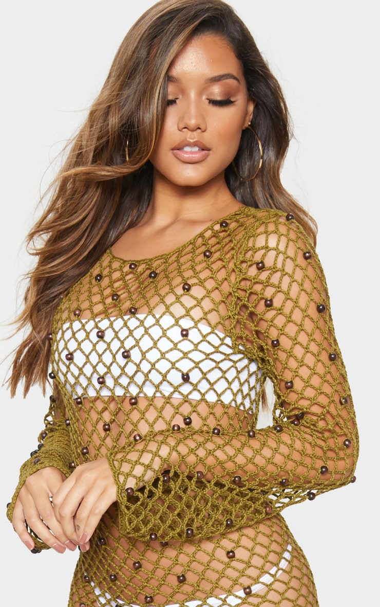 Khaki Beaded Crochet Long Sleeve Knit Dress 5