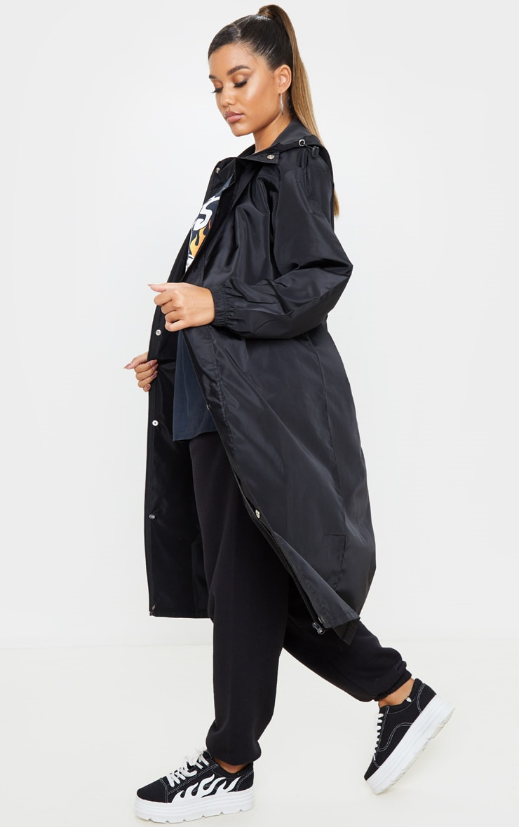 Black Longline Windbreaker 4