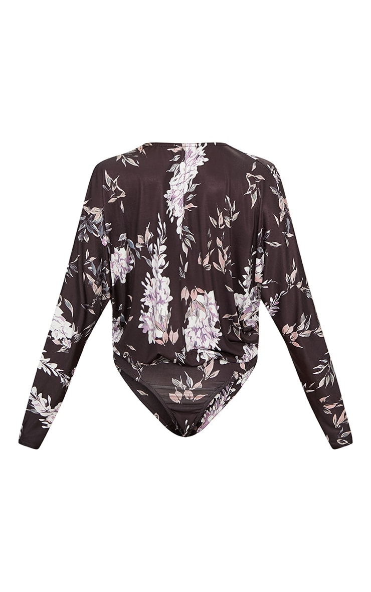 Black Slinky Floral Print Long Sleeve Thong Bodysuit 4