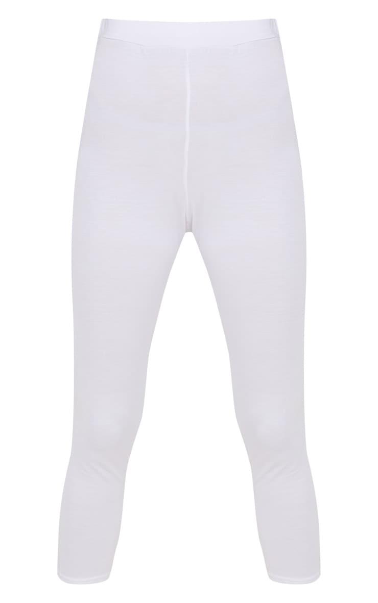 White Basic Cropped Jersey Leggings  3
