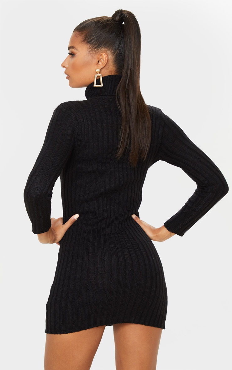 Black Roll Neck Knitted Sweater Dress 2