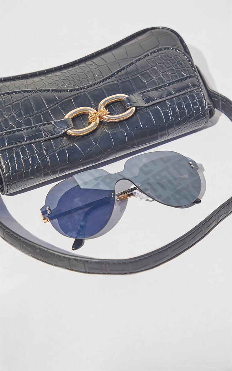 PRETTYLITTLETHING Black Frameless Round Aviator Sunglasses 2