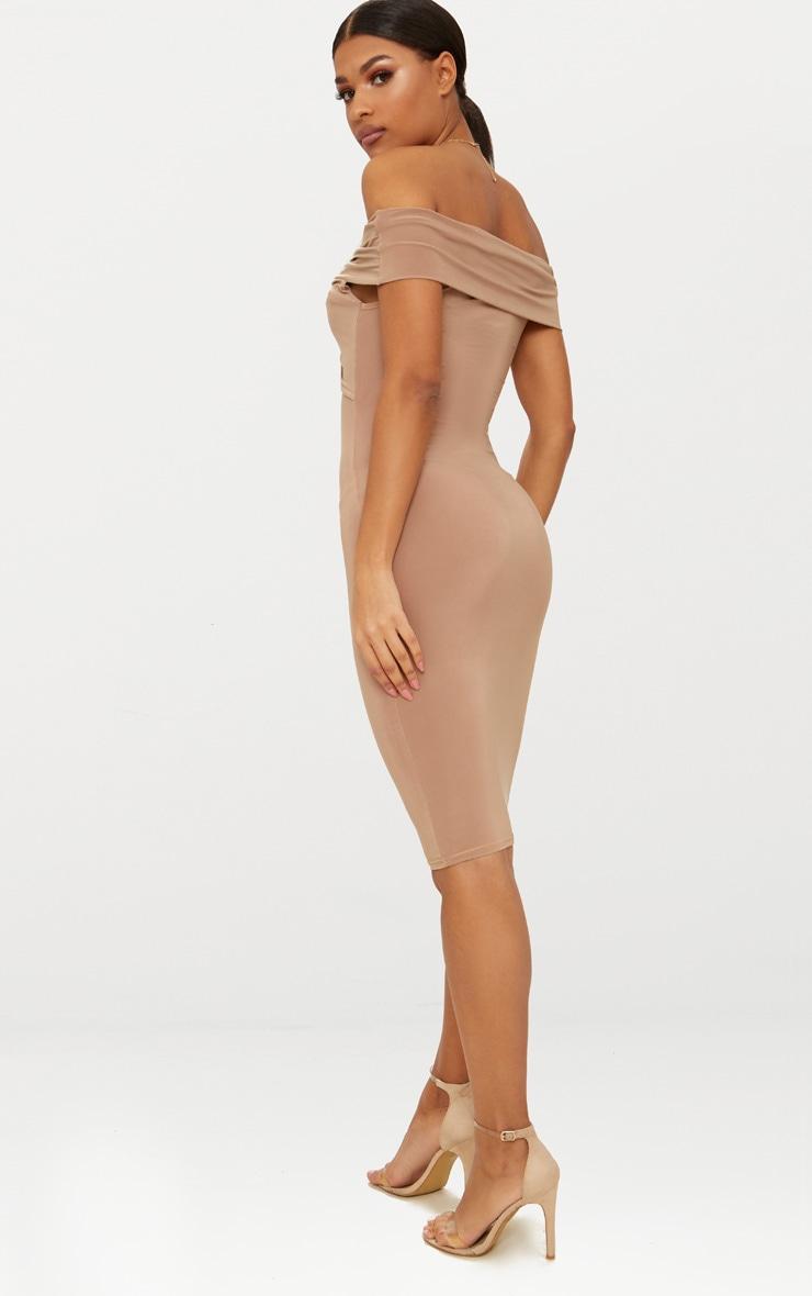 Camel Bardot Twist Detail Midi Dress 2