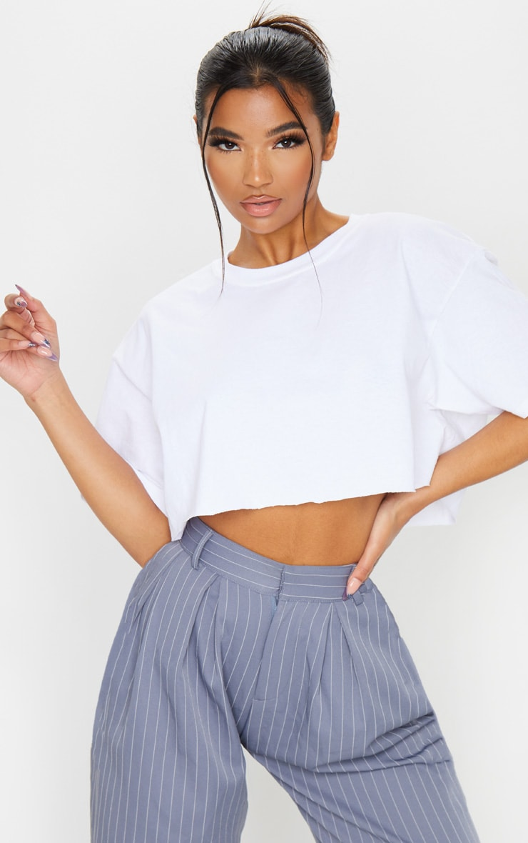 White Ultimate Oversized Crop T Shirt 1