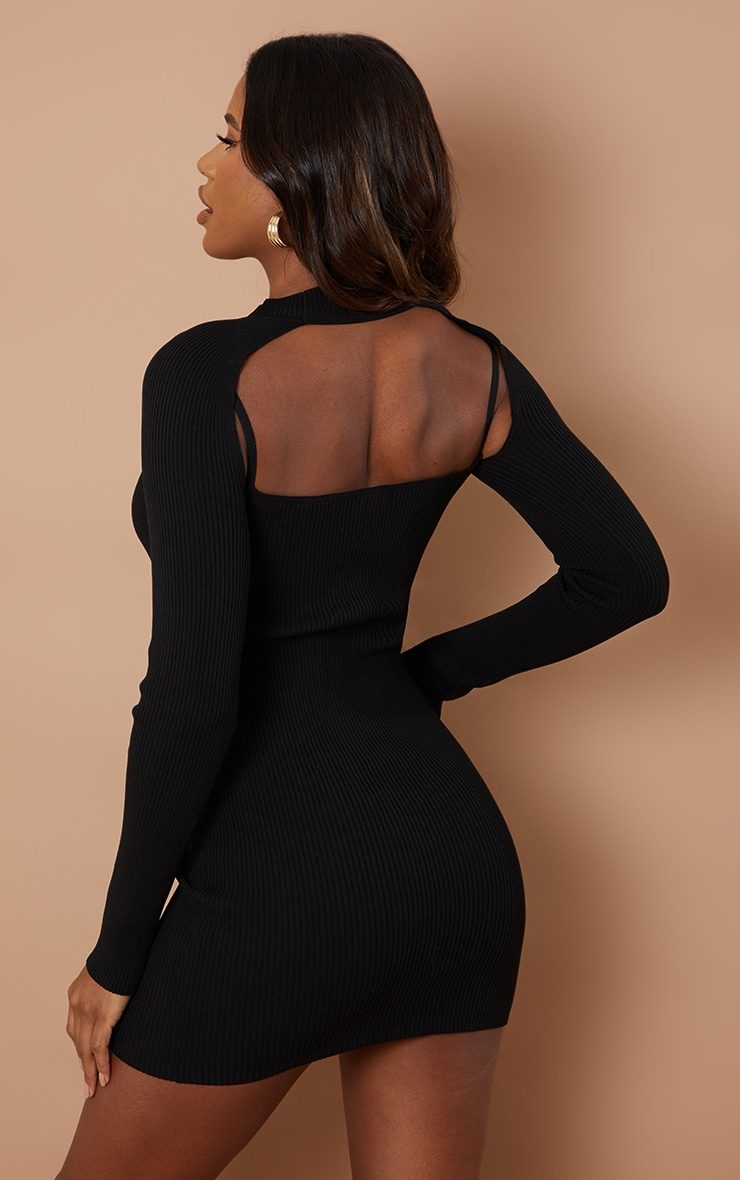 Black Knitted Bodycon Dress With Sleeves 2
