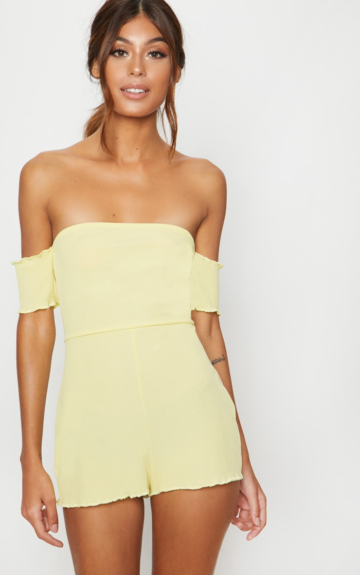 Lemon Ribbed Bardot PJ Romper