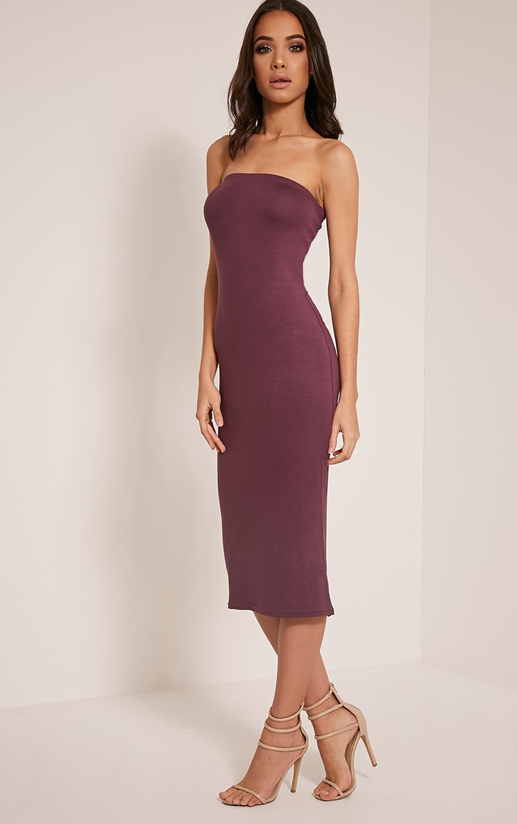 Basic Aubergine Jersey Bandeau Midi Dress 5
