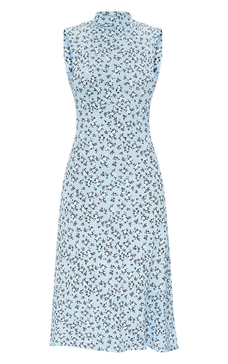 Baby Blue Ditsy Open Back Detail Midi Dress 5