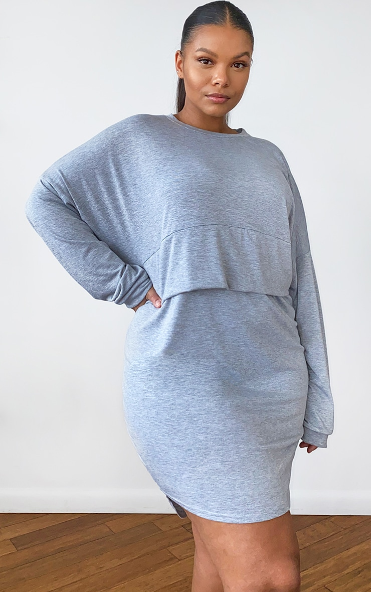 Plus Grey Long Sleeve Jersey Layer T Shirt Dress 1