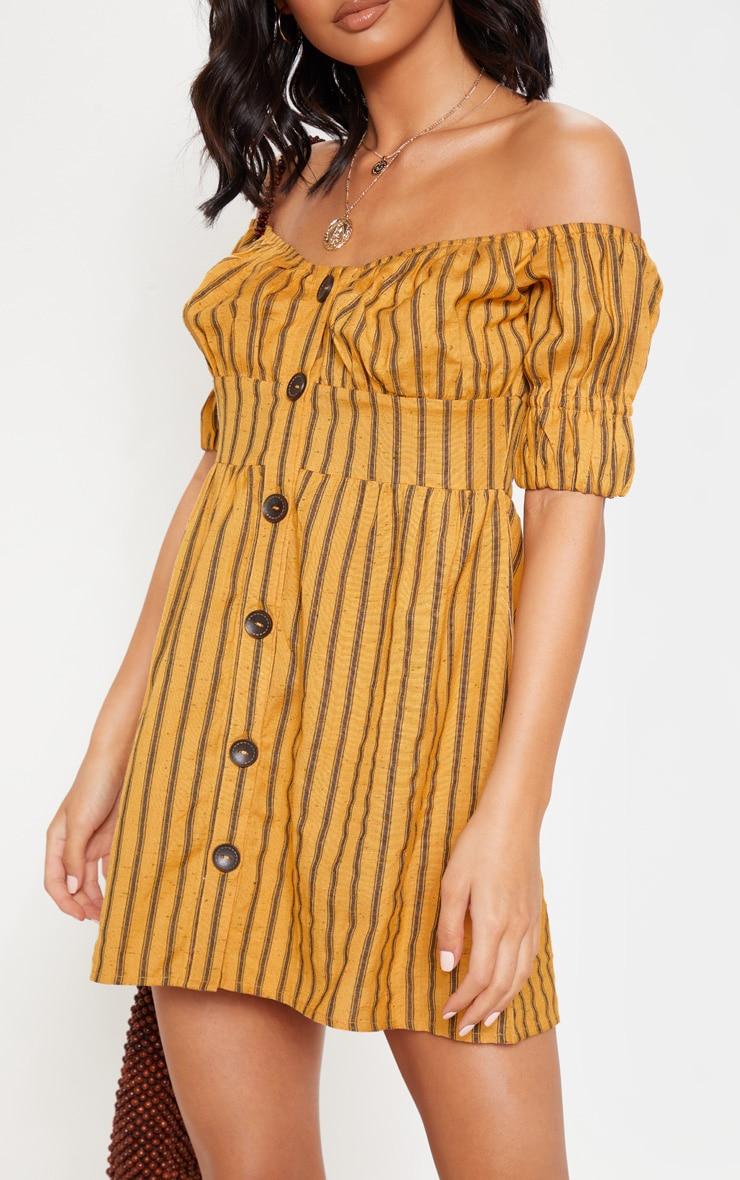 Mustard Stripe Button Through Bardot Shift Dress 5