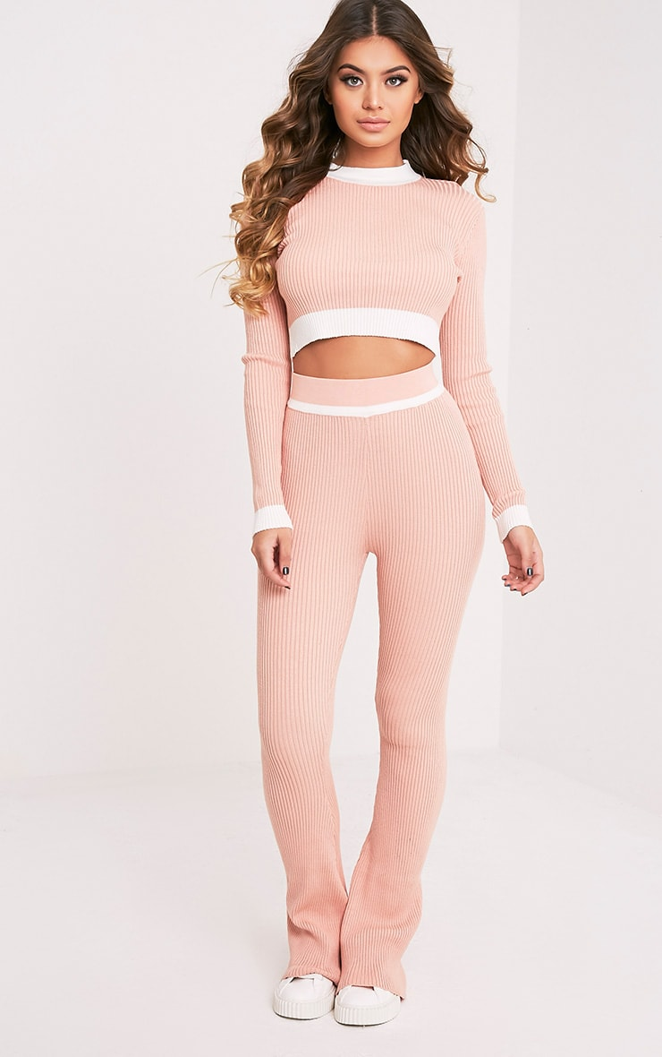 Sufiya Nude Colour Blocked Knit Ribbed Crop 5