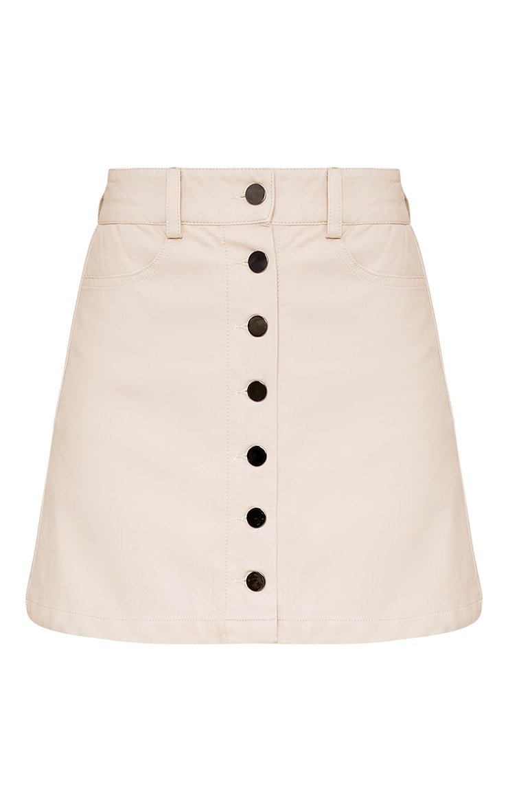 Ayanna Nude Faux Leather Button A-Line Mini Skirt 3