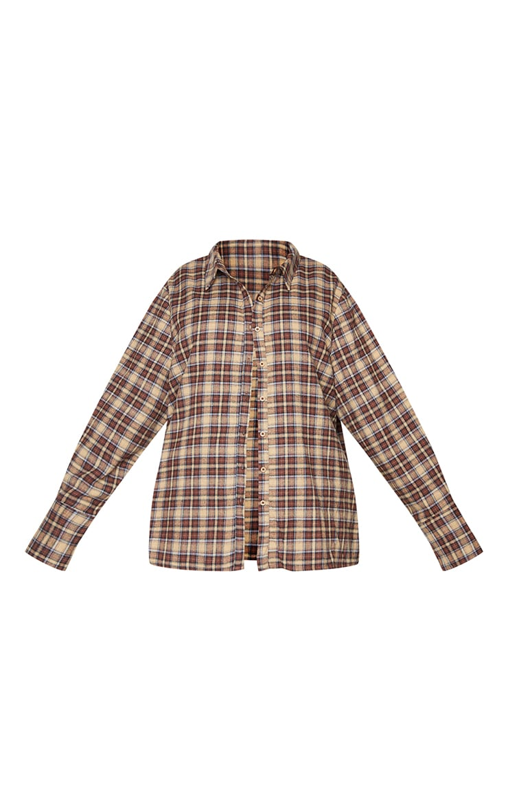 Plus Brown Checked Oversized Shirt 5
