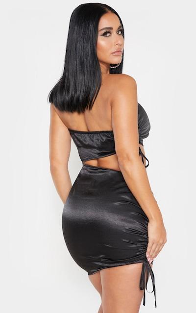 Shape Black Bandeau Ruched Side Cut Out Dress