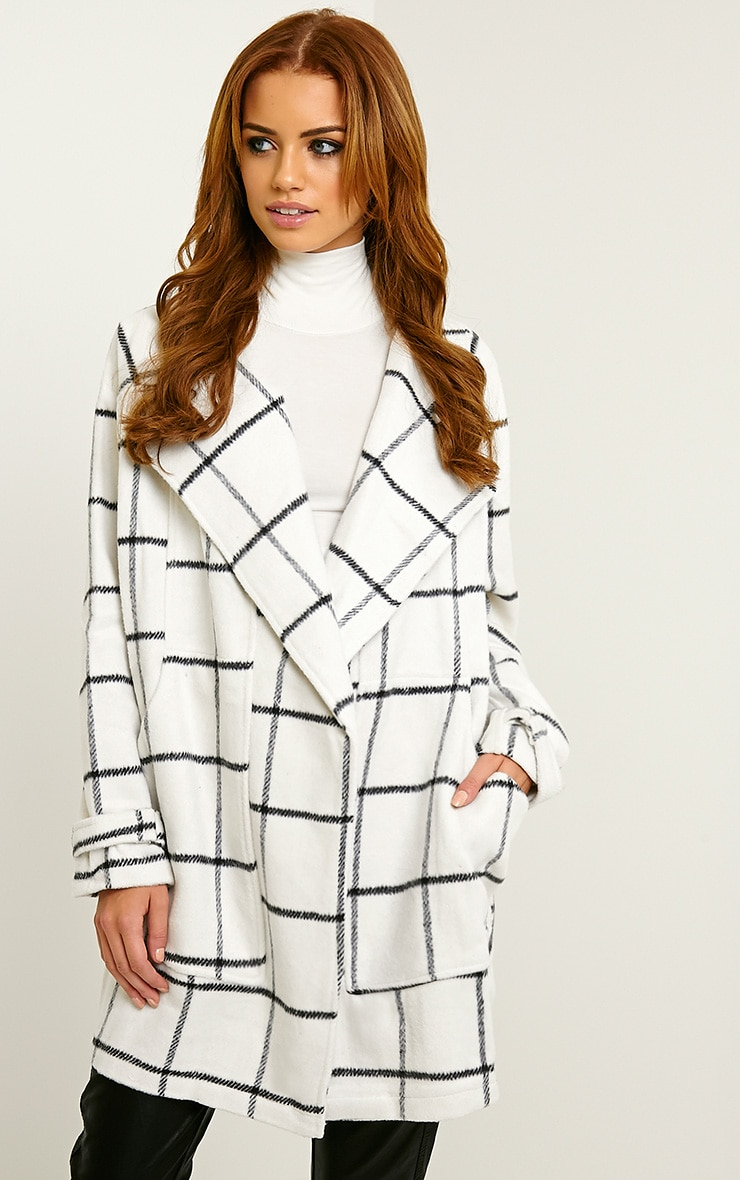 Evelina White Oversized Check Waterfall Jacket 1