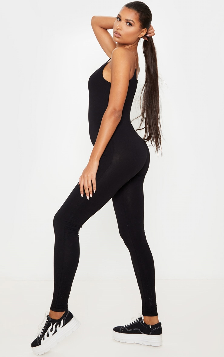 Black Seamless Cotton Strappy Jumpsuit 4
