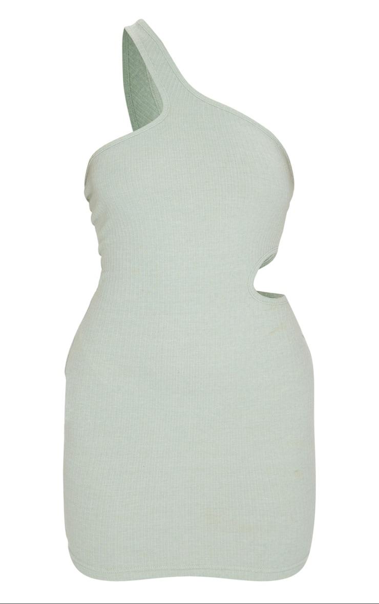 Sage Green Rib One Shoulder Cut Out Detail Bodycon Dress 5