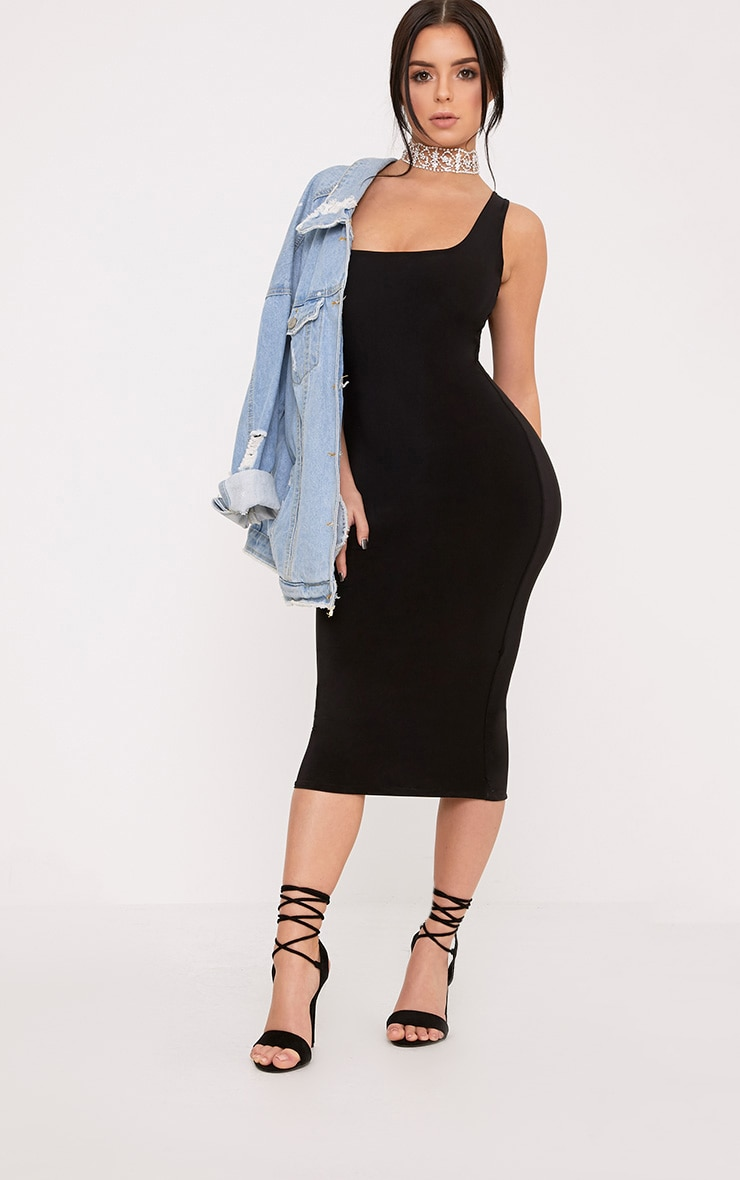 Shape Abrielle Black Slinky Midi Dress  1