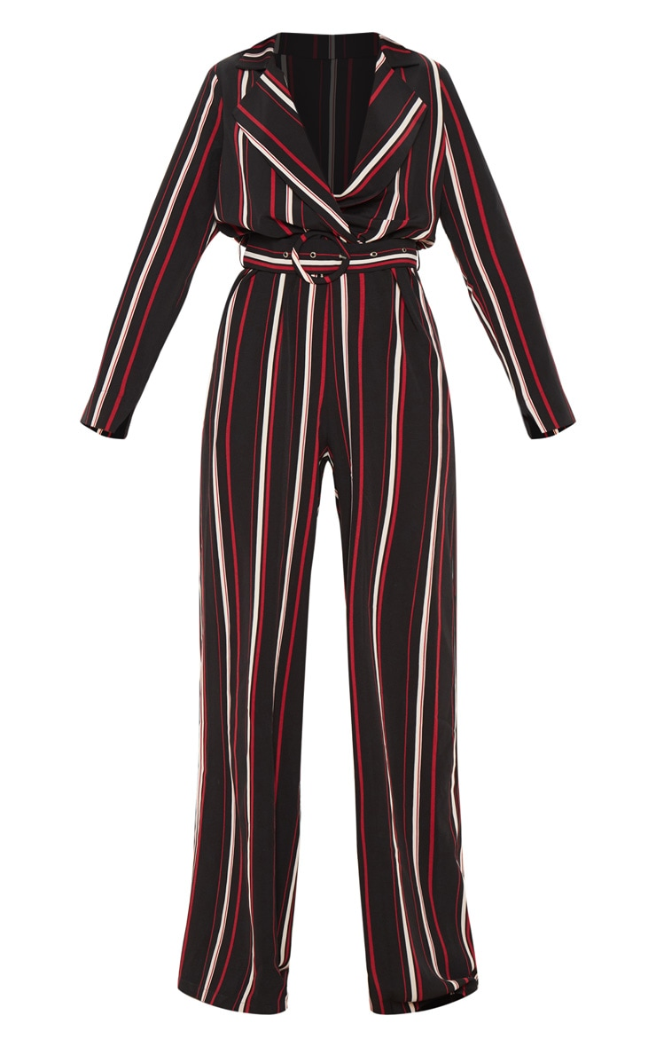 Multi Striped Belt Detail Wide Leg Jumpsuit 3
