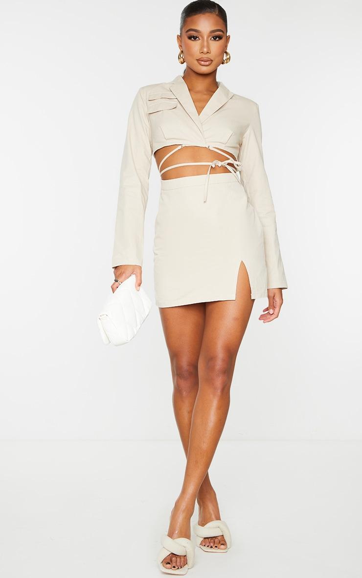 Stone Woven Cut Out Tie Waist Utility Style Blazer Bodycon Dress 5