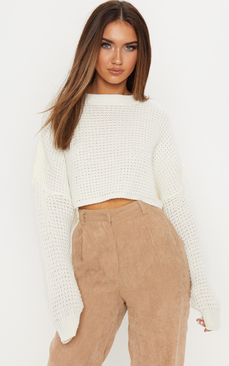 Cream  Fisherman Knitted Cropped Jumper 1