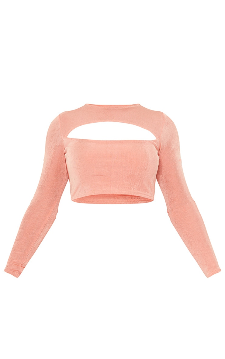 Peach Slinky Acetate Long Sleeve Cut Out Front Crop Top 5