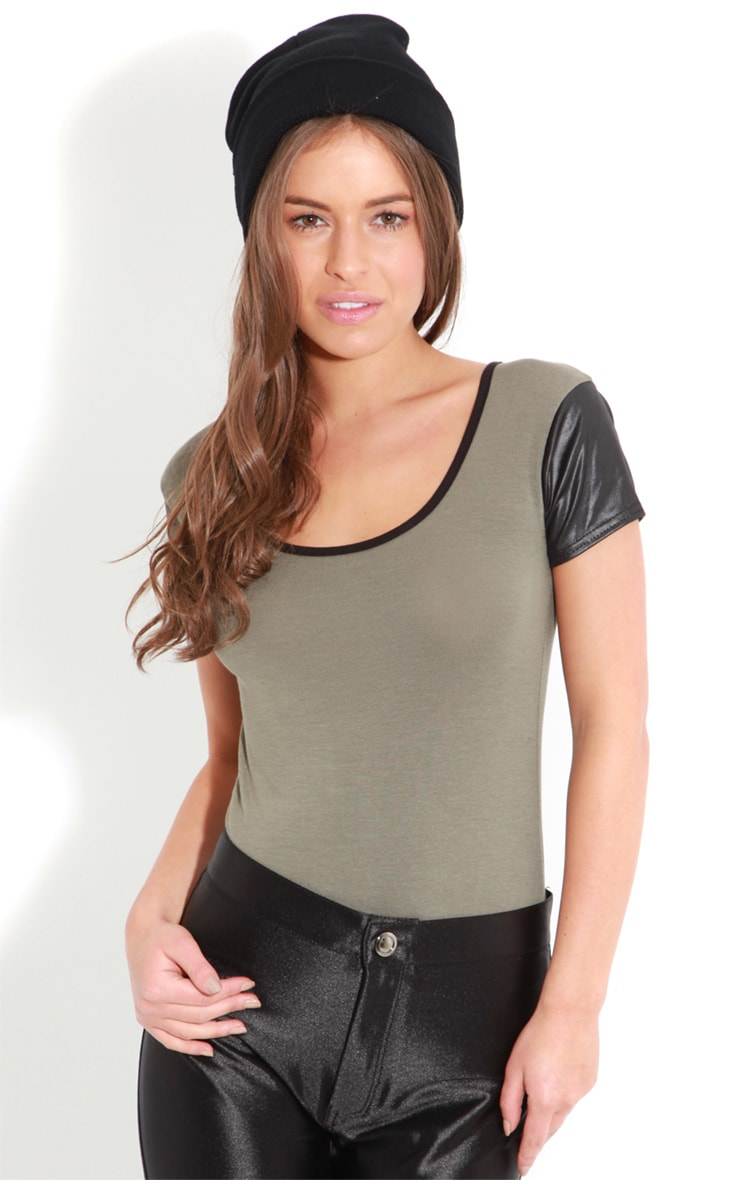 Cleo Khaki Tee With Leather Sleeves 1