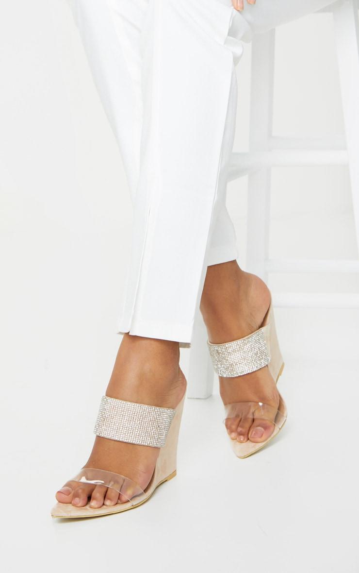 Cream Diamante Strap Pointed Toe Wedge Heels 1