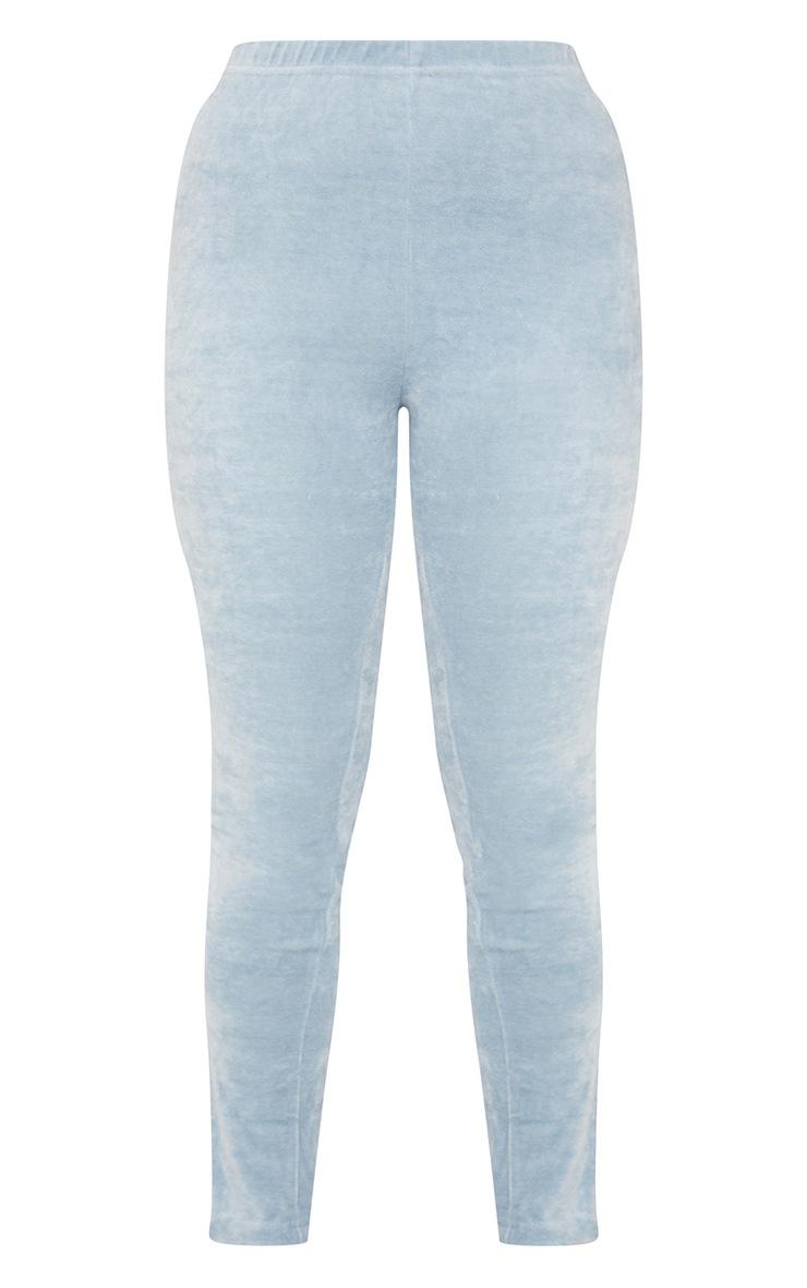 Petite Blue Velour Split Hem Leggings 5