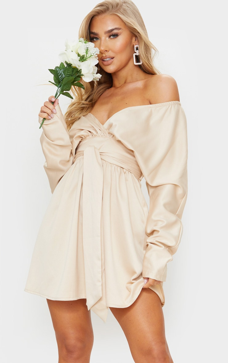 Champagne Satin Off Shoulder Tie Waist Skater Dress 3