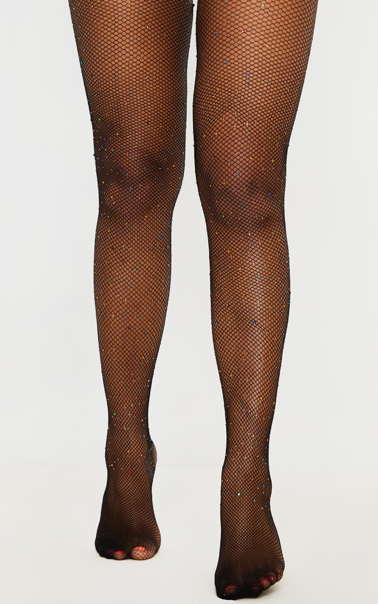 Multi Colour Diamante Fishnet Tights 1