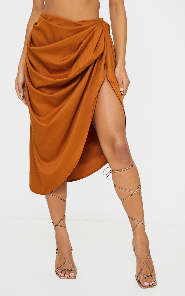 Brown Ruched Side Midi Skirt 2