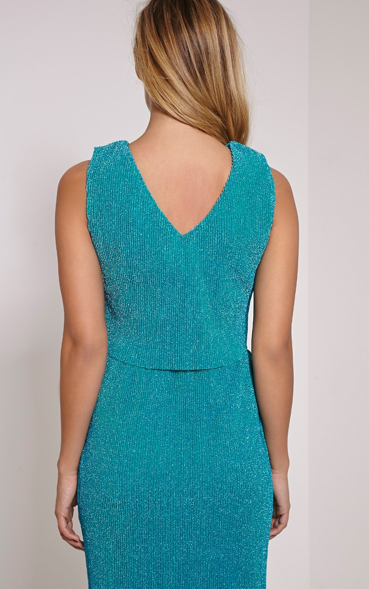 Sira Turquoise Glitter Lace Up Ribbed Crop Top 3