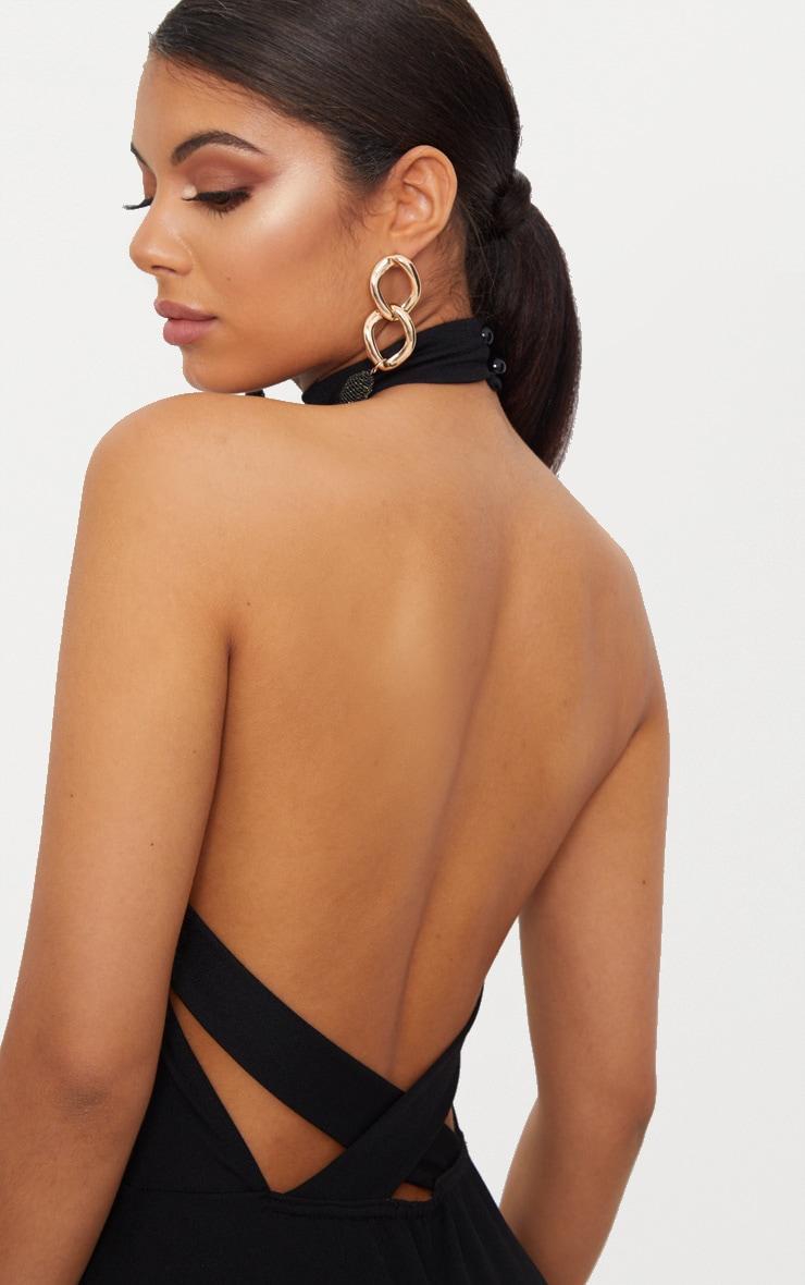 Robe longue noire à col montant et bretelles croisées dans le dos 5