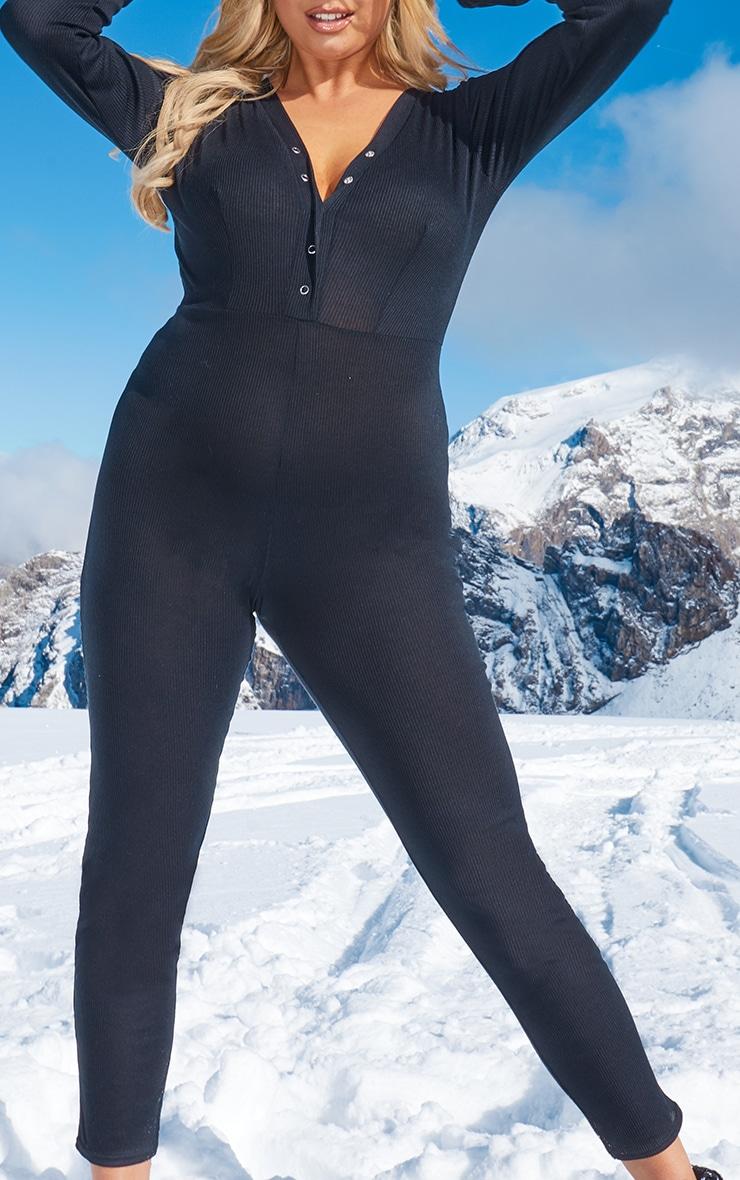 Plus Black Rib Popper Detail Long Sleeve Jumpsuit 5