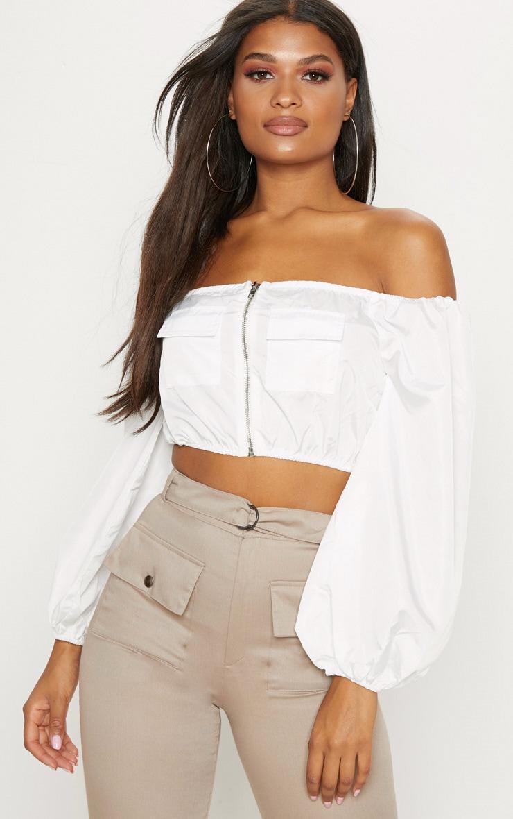 White Bardot Crop Pocket Detail Shellsuit Top