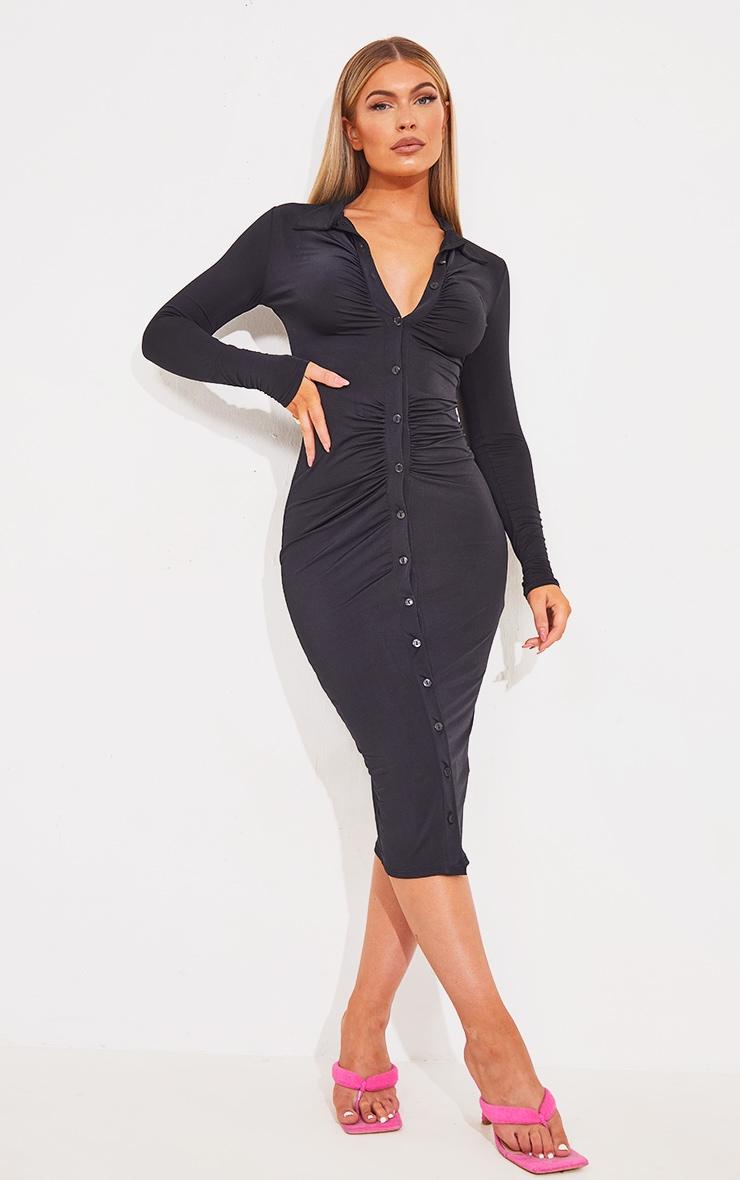 Black Slinky Ruched Button Down Midi Shirt Dress 1
