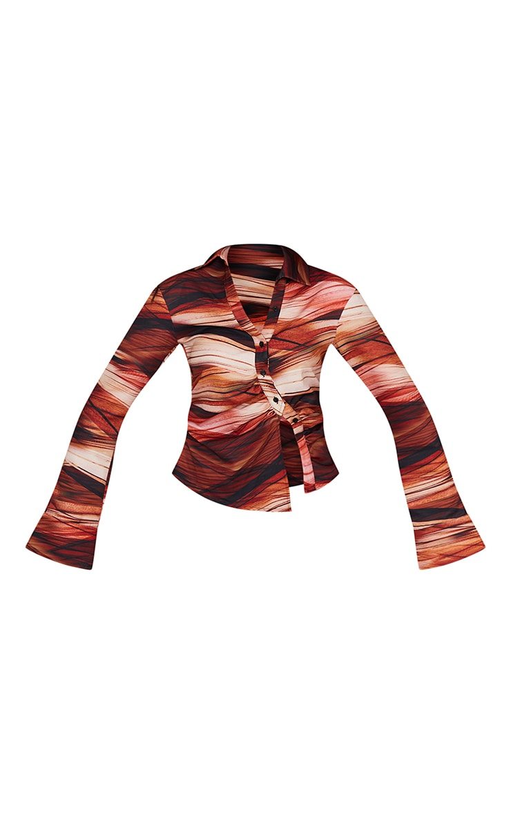 Tall  Brown Ruched Stripe Printed Blouse 5