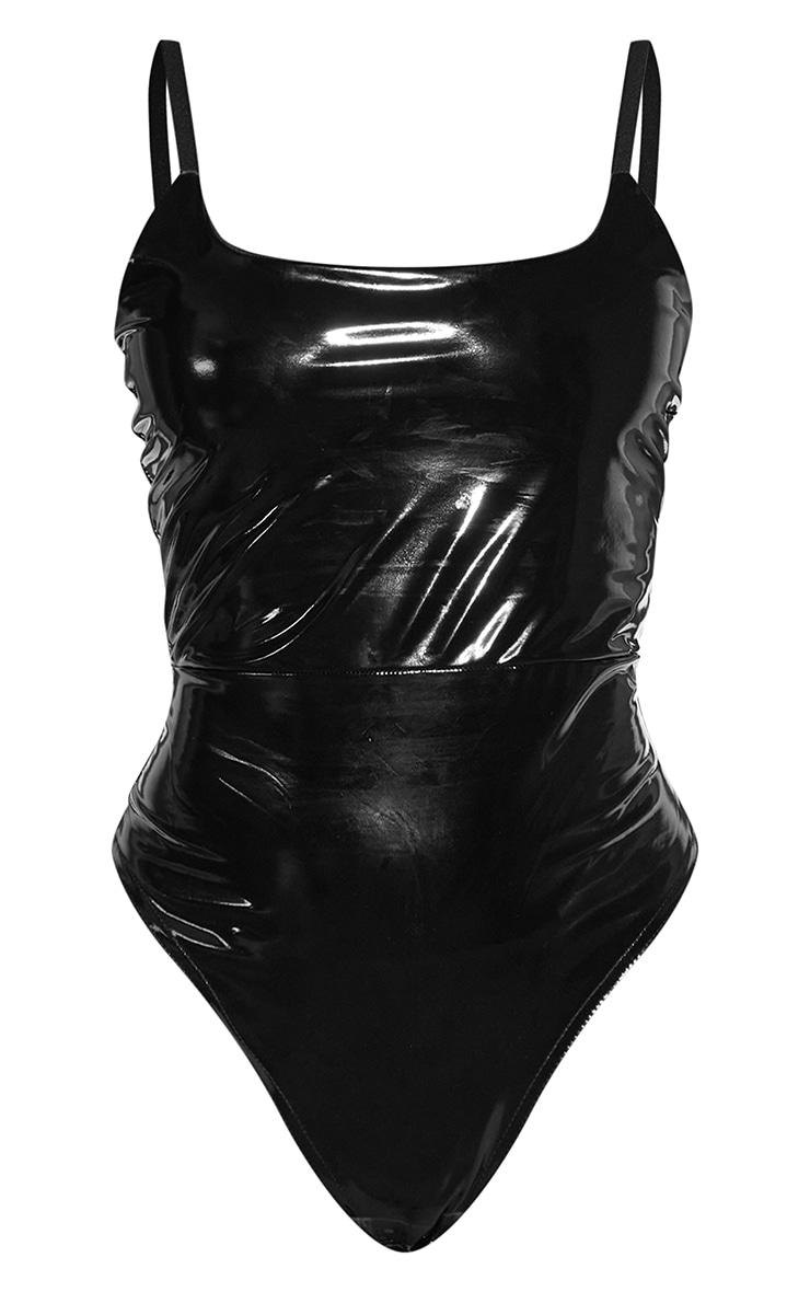 Black Vinyl Square Neck Bodysuit 5