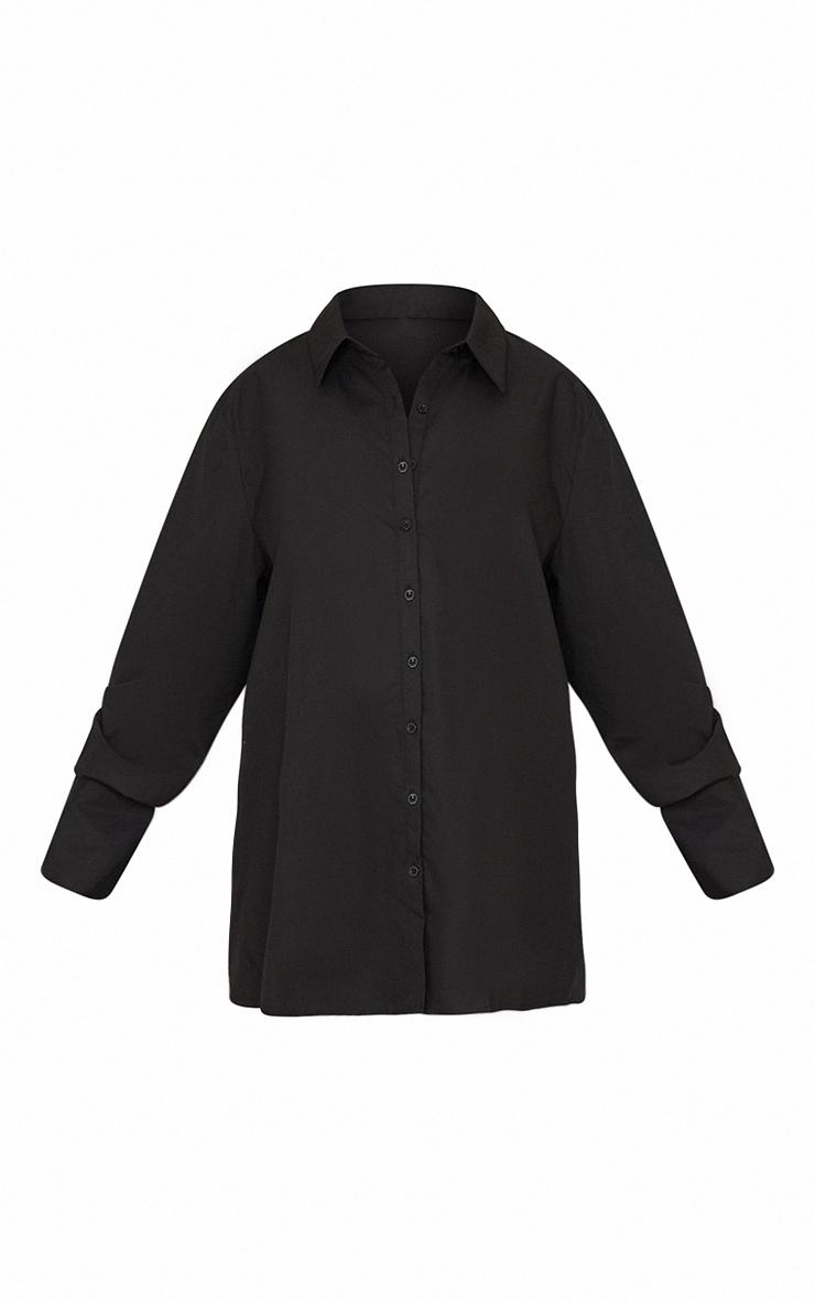 Maternity Black Oversized Cuff Poplin Shirt 5